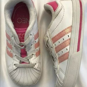 ADIDAS Neo Label Baby Shoes Sz 7K Pink/White